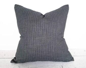 Farmhouse Pillow, Rustic Pillows, Dark Blue Pillows, Blue Pillow, Blue Striped Pillow Cover, Blue Cream Pillow, Zipper Pillow, 18x18, 20x20