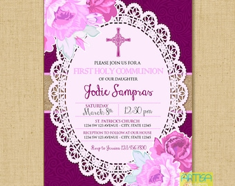 Pink Girl's First Communion Invitations, Girl First Communion Invitation, purple Pink Girl First Communion Invitation, Burlap First Communio