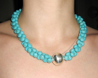 Turquoise Magnesite In Sterling Silver Necklace