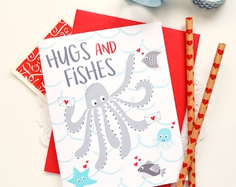 Hugs and fishes, Kid's Valentine's Day card, Under the sea, octopus, fish, Folded Note Cards, Children's gift, Happy Valentine's Day, marine