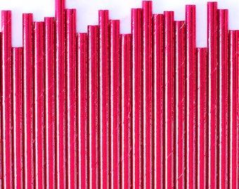 Soild Hot Pink Foil Paper Straws, Gold Pink Foil Stripe Paper Straws, Pink Cake Pop Sticks, Foil Pink Paper Straws, Valentine's Paper Straws