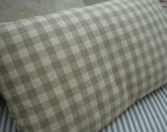 FRENCH LiNeN Taupe PilloW/Down Pillow/Country CHeCK/PaRis Cottage/Shabby Chic