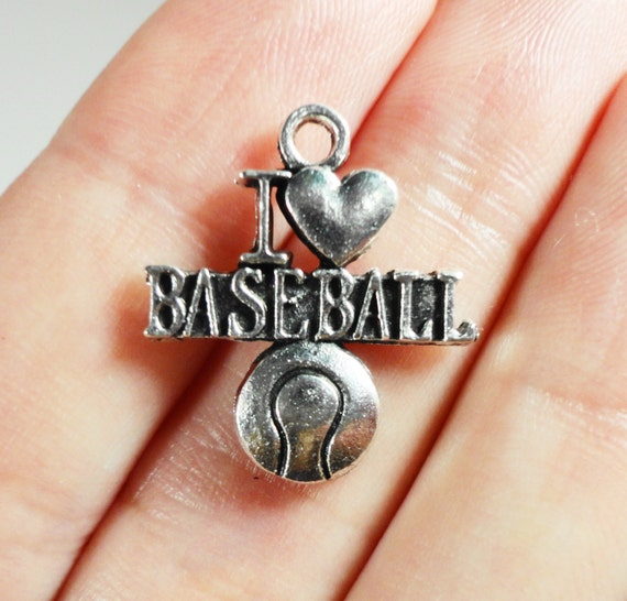 I Love Baseball Charms 20x15mm Antique Silver Baseball Charms, I Love Baseball Pendants, Sport Charms, Metal Charms for Jewelry Making, 10pc