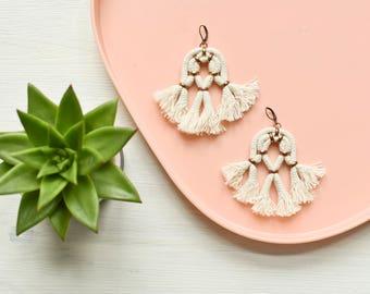 Tassel Earrings, Off White Earrings, Large Earrings, Statement Earrings, Boho Earrings, Abstract Earrings, Rope Earrings, Fringe Earrings
