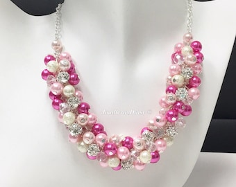 Hot Pink Bridesmaid Jewelry Shade of Pink Necklace Bridesmaid Gift Pearl Jewelry Cluster Necklace Wedding Jewelry Gift Idea for Mothers