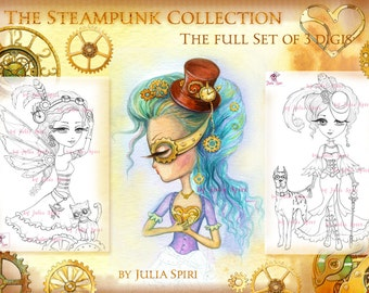 3 Digital stamps, Steampunk Digi, Metal, Gear, Fairy, Heart, Lady, Mechanic, Coloring pages, Paper crafting Cardmaking. Steampunk Collection