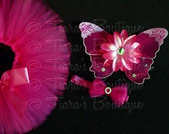 Baby Tutu Fairy Wings and Headband Set - Fuchsia - Birthday Tutu Set - Sewn 6'' Economy Tutu Wings & Bow Headband