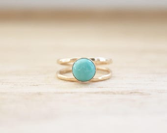 Double band turquoise ring, turquoise ring, gold ring, dainty gold ring, hammered gold ring, turquoise rings, mexican turquoise, boho ring