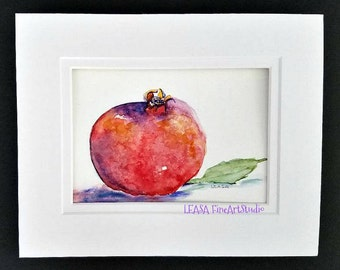 Pomegranate-Original Watercolor Painting- Fruit Painting -8 x 10 matted- One of a kind Art - Artwork & Collectable