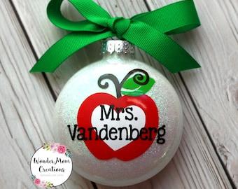 Teacher Personalized Ornament; Teacher Apple Christmas Ornament; Kindergarten Teacher Personalized Ornament; Preschool Teacher; High School