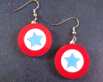 4th of July Earrings, USA Shield Dangle Earrings, Red White Blue, Independence Day, Patriotic July 4th Jewelry