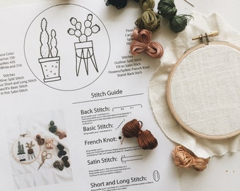Cactus Pattern Kit // Embroidery Pattern Kit // Embroidery Pattern // Embroidery Kit //Embroidery Designs //Succulent Embroidery /