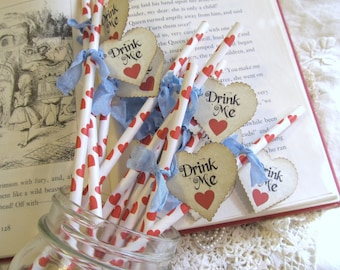 Alice Paper Party Drink Stir Straws with Red Heart Drink Me Flags - Choose Ribbon Colors - Set of 18 - Tea Party Baby Bridal Shower