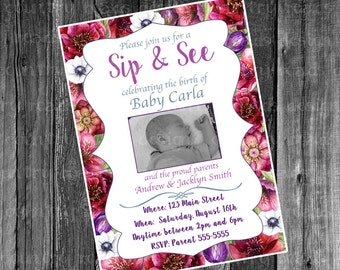 Flower Sip and See with Photo Printable Digital Invitation with Picture Watercolor flowers Meet & Greet the Baby Pink and Purple Girl Invite