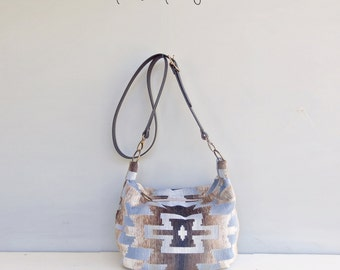 Aztec Cross Body Hobo Bag in Blue with Custom Leather Strap - Southwest Boho Zipper Purse - Tribal Pattern Large Shoulder Bag - Made in USA