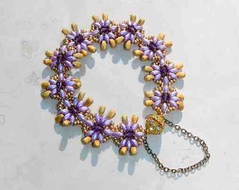 Purple and Gold Hand Beaded Glass and Crystal Bracelet With Magnetic Clasp and Safety Chain