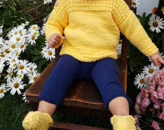 Sugar Lamb's sunshiney cotton beach pullover + matching booties - handmade hand knit baby clothes sweaters