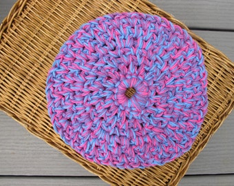 Crochet Cotton Hot Pad. Cottage chic Round pad. Bright purple, blue, shocking pink.  8 inch round. Ready made. Ready to ship. 09