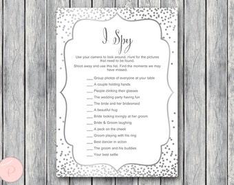 Silver I Spy Wedding Scavenger Game, Wedding Game Printable, Wedding Scavenger Printable, Printable Game wd92 TH64