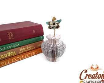 Mini Paper Vase Urn Shaped with Single Coloured Paper Flowers Book Art - origami flowers - Mother's Day Gift idea