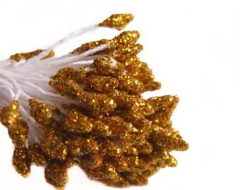 100 pcs Golden Glitter Flower Stamens