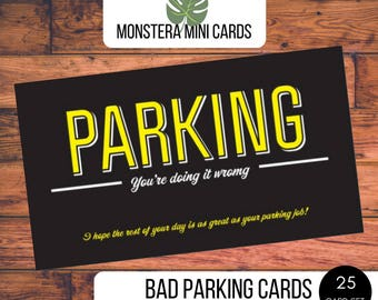 Bad parking cards etsy bad parking cards stocking stuffer funny business cards white elephant gift parking reheart Gallery