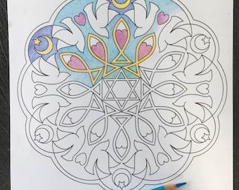 Coloring Mandala Printable Multi Faith Mandala