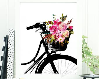 Bicycle Print, Floral Bicycle Wall Art, Scandi Print, Watercolor Floral Print, Bicycle Art Print, Bicycle Poster, Travel Wall Art, Bike Art