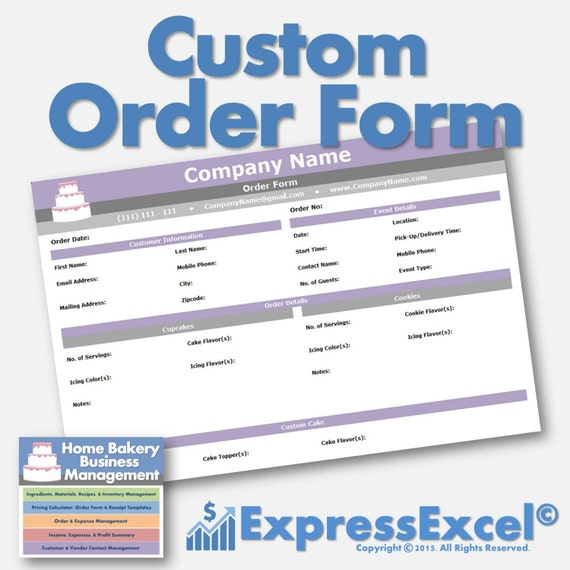 Cake, Cupcake, And Cookie Decorating Business Printable Order Form |  Receipt Template | Microsoft Excel Spreadsheet | Mac + PC