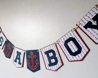 Ahoy Its a Boy Nautical Banner, Gold Baby Shower Anchor Banner, Nautical Baby Shower Decoration, Blue and Red Its a Boy Banner