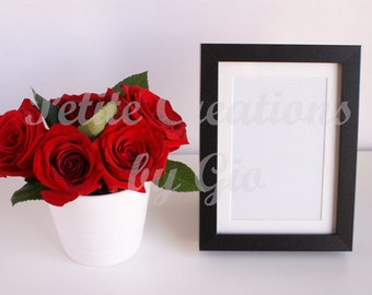 Styled Stock Photography, Roses in a White Vase and Black Frame