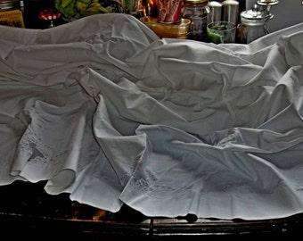 SALE Antique Pure Linen Hand Embroidered Appenzell Queen Sheet Set