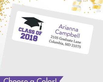CHOOSE A COLOR - Graduation Address Labels / Class of 2018 Address Labels - Sheet of 30