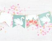 Swan & flowers mint Garla...