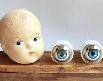 Vintage Doll Eyes Old Stock Unused Open and Close Sleep Eyes with Lashes Blue Eyes
