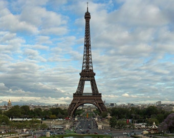 Panoramic canvas wrap of the iconic Eiffel Tower in Paris