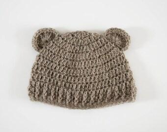Bears hat, crochet baby bonnet, new born, beanie Hat beanie baby bear hat, ears, baby birth gift Hat Cap