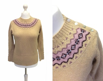 Pale Brown Jumper - Knitted Pullover With Pink Yoke - Patterned 90's Jumper - MOP Buttons