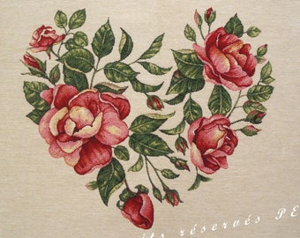 HEART ROSES tapestry panel fabric coupon