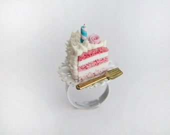 Birthday Cake Ring - Birthday Gift - Pink Cake Ring - Food Jewelry - Tea Party Ring - Food Ring - Kawaii Ring
