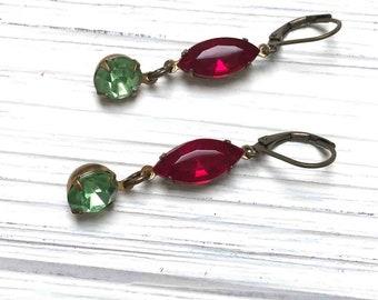 Vintage Rhinestone Navette Earrings. Medium Drop Earrings. Dangle Earrings. Clear. Green. Handmade Jewelry.