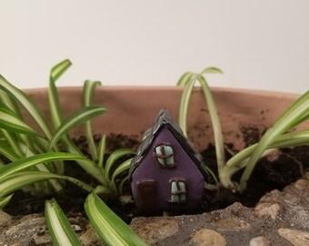 Handmade - Teeny tiny little clay purple 2 story house.