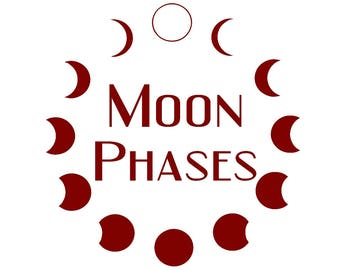 Moon Phases, Car decal, Vinyl Sticker, Waxing Moon, Waning Moon, Crescent Moon, Solar Eclipse, New Moon, Half Moon, Pagan, Witch, Wicca,