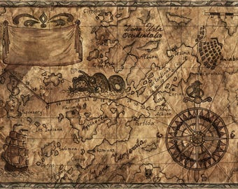 Old treasures map. Printable art freehand illustration. Pirates of the Caribbean. Pirate art. Wall Art. Instant download jpg file