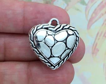 2 Puffed Silver Heart Charm SP0842