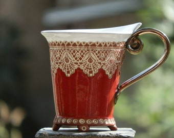 Ceramic Cup, Tea Cup, Handbuilding Techniques, Ceramics and pottery , Handmade cup, Coffee cup, Red cup, Coffee Mug, Wedding gift, Unique