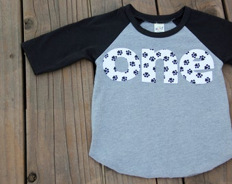 First Birthday Shirt, Dog Paw Birthday Shirt, Puppy Birthday Shirt, Black and White Shirt