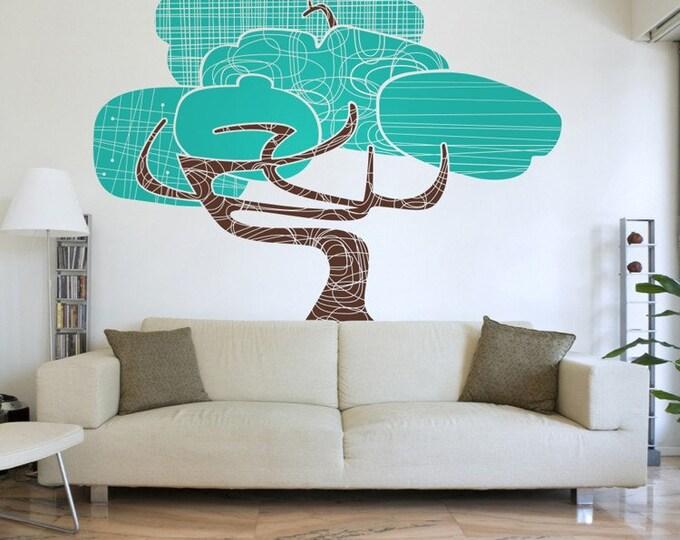 tree vinyl wall decal,  mid century modern tree art, large tree wall sticker art, modernism, FREE SHIPPING