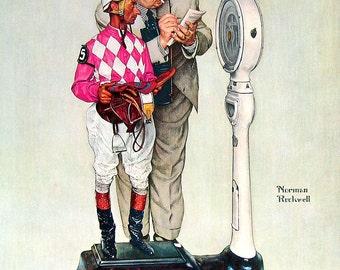 Norman Rockwell - Jockey Weighing In - 1961 Vintage Print - Vintage Book Page - 13 x 11
