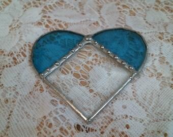 AQUA BLUE stained glass & bevel HEART suncatcher or ornament